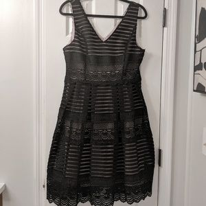 ModCloth Black Sleeveless Lace Fit and Flare Dress